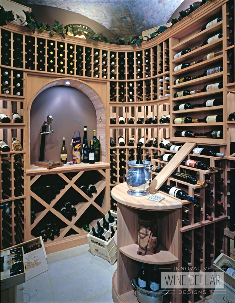 Traditional wine storage room, custom design & install by Innovative Wine Cellar Designs.