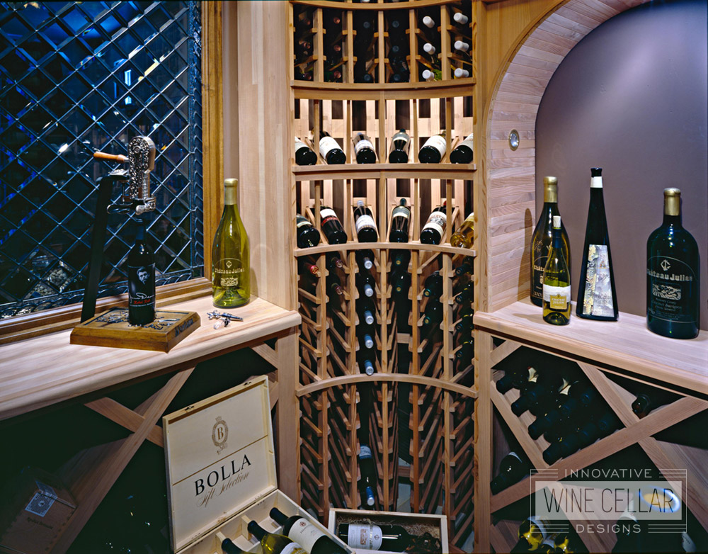 Wood Wine Racks in Custom Built Wine Cellar