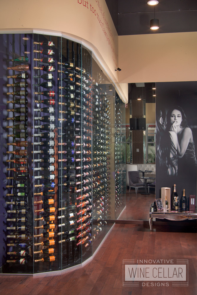Custom Glass Wine Cellar Wall for Narcisse Champagne Lounge