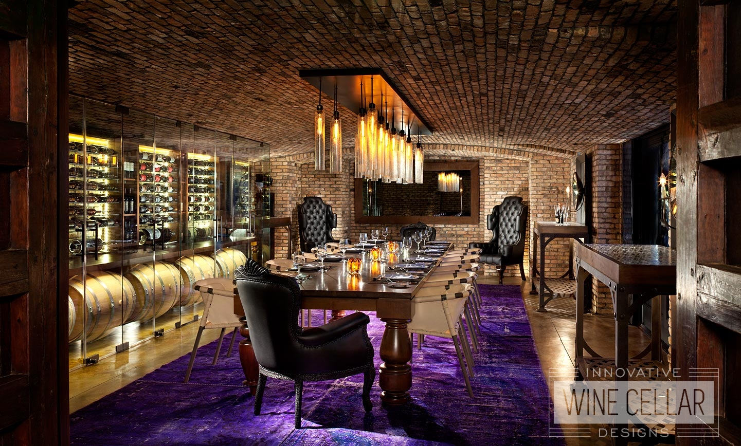 Climate Controlled Glass Wine Cellar in Wine Cave For Commercial Businesses