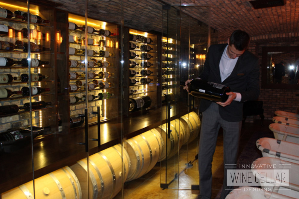 Lighted Display Glass Wine Cellar for Commercial Businesses