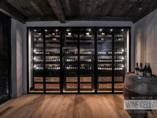 Transitional Style Custom Wine Cellar with Sliding Racks