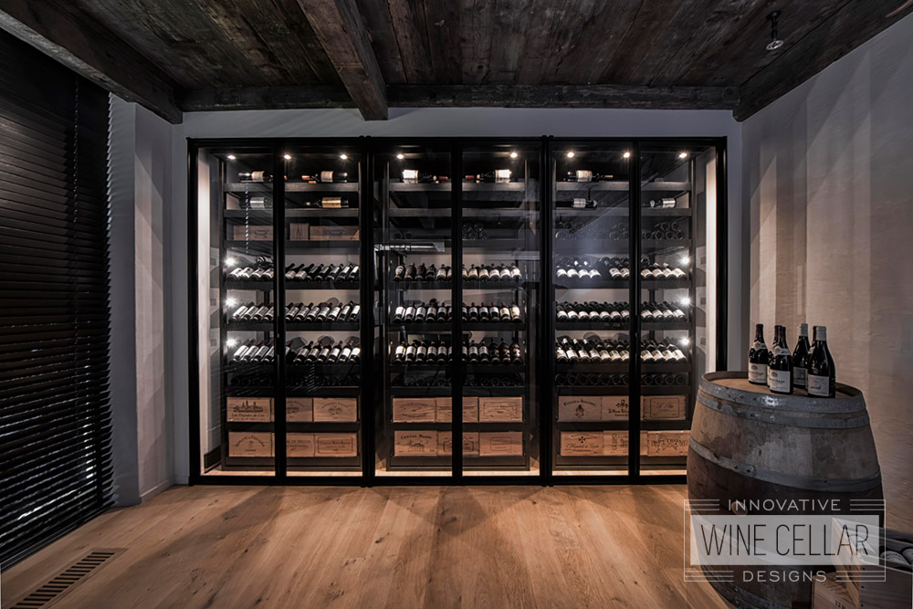 Transitional Style Custom Wine Cellar with Sliding Racks