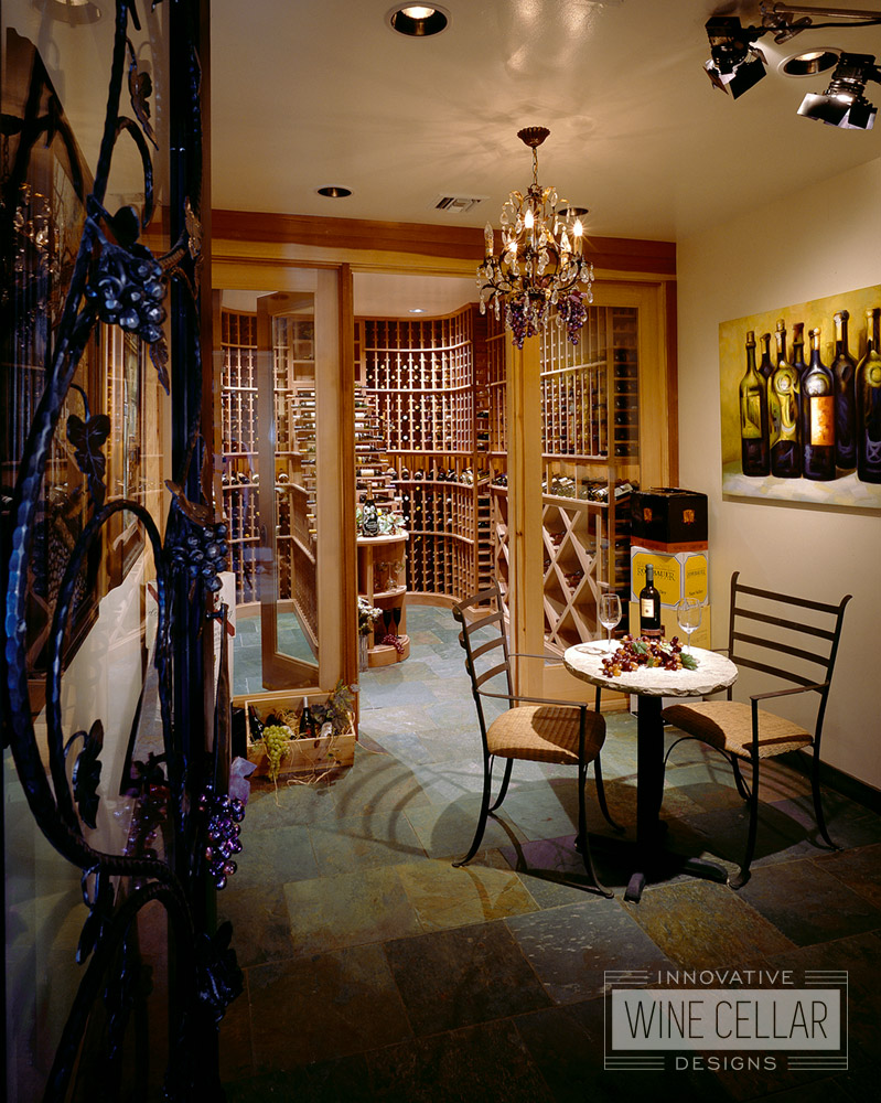 Wood Wine Racks in Modern Wine Cellar