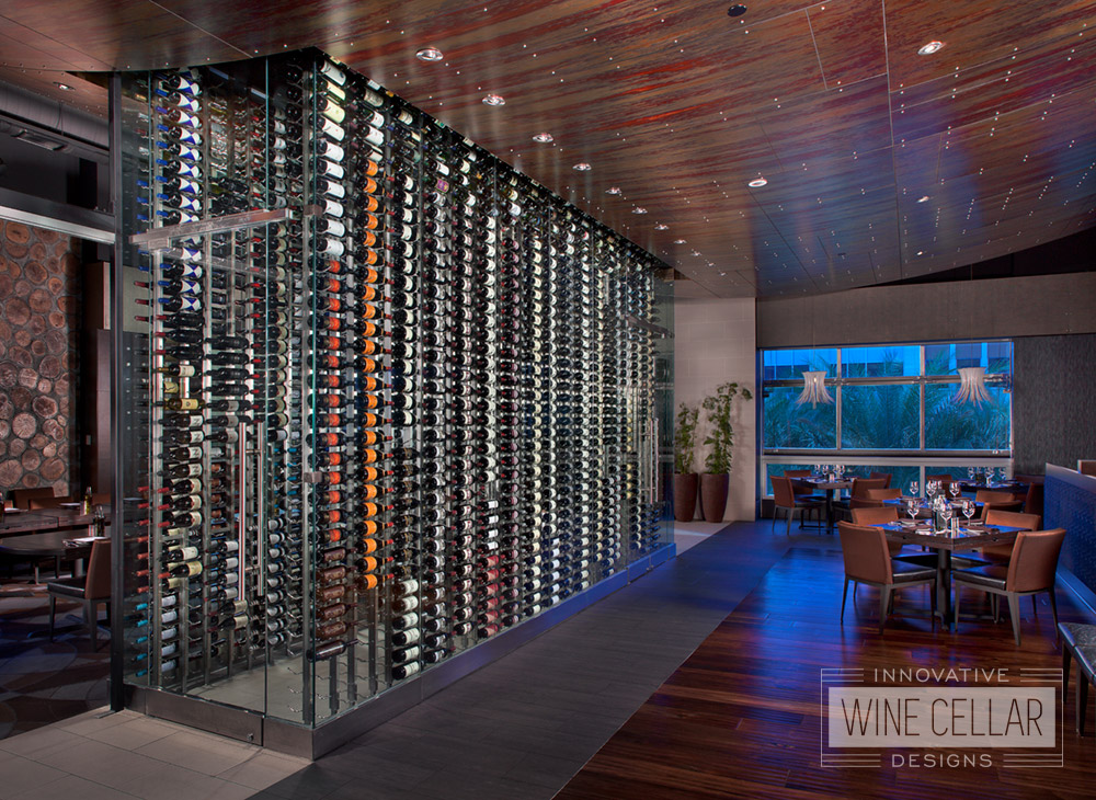 Custom Glass Walk-In Wine Wall Cellar and Display for Restaurants