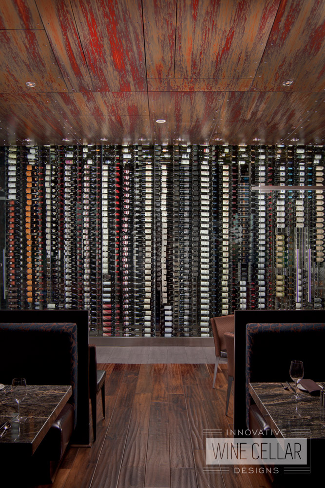 Custom Glass Wine Wall Cellar and Display for Restaurants