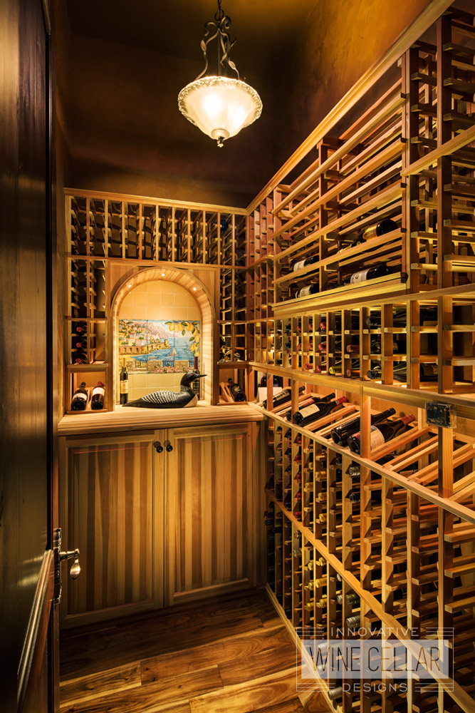 Traditional redwood wine storage room, custom design & install by Innovative Wine Cellar Designs.
