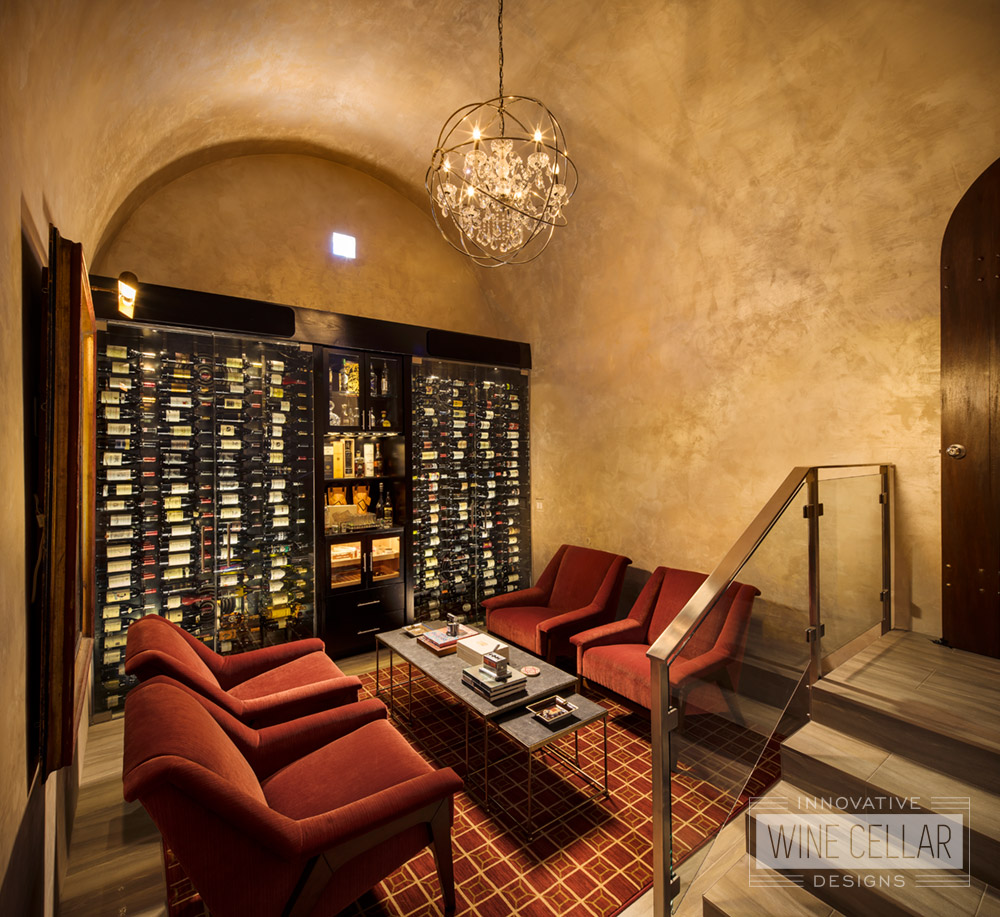 Transitional Style Custom Wine Cellar Wall
