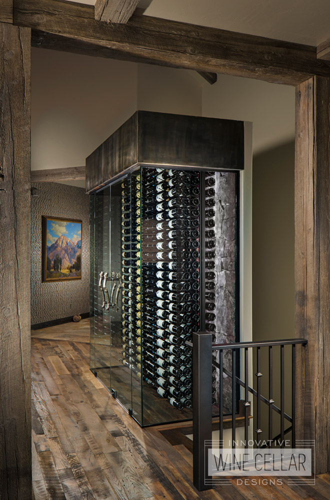Transitional Style Wine Cellar with Glass Walls and White LED Lights