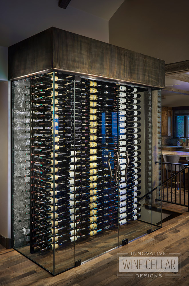 Transitional Style Wine Cellar and Racks with Glass Walls with White LED Lights