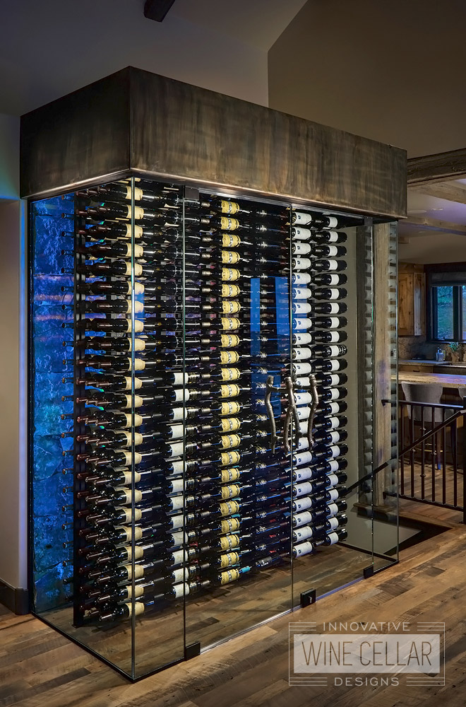 Transitional Style Wine Cellar with Blue LED Accent Lights