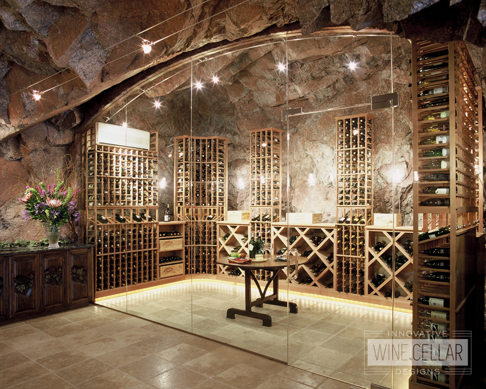 Custom Wood Wine Racks in Wine Cave