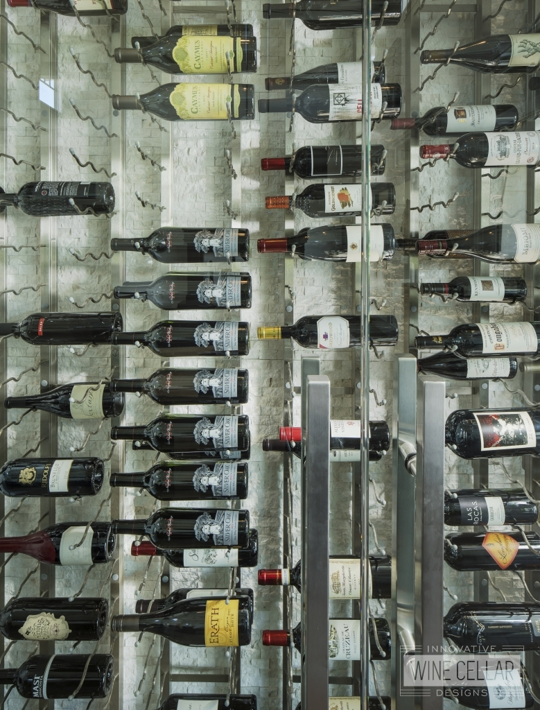 contemporary metal wall wine racking