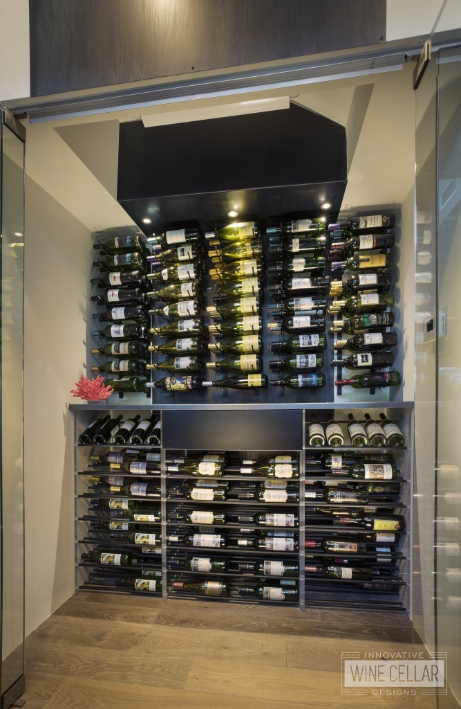 Contemporary refrigerated glass enclosed wine cellar
