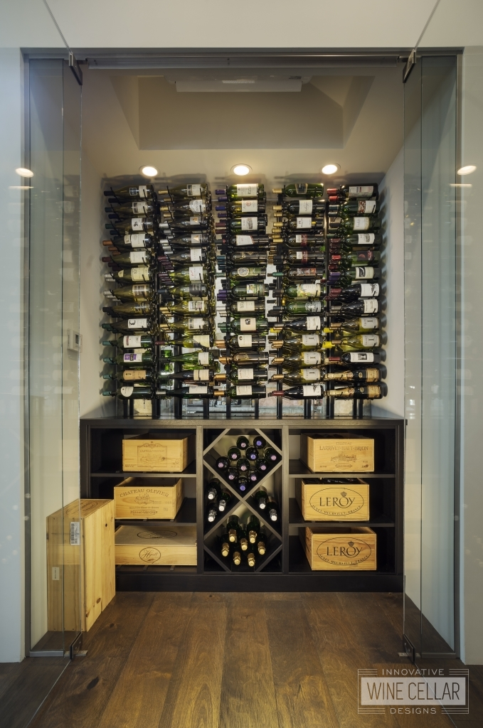 glass enclosed wine storage room