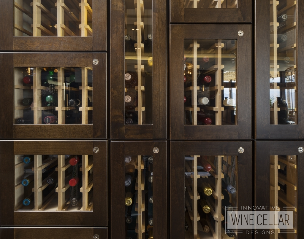 wine lockers close up