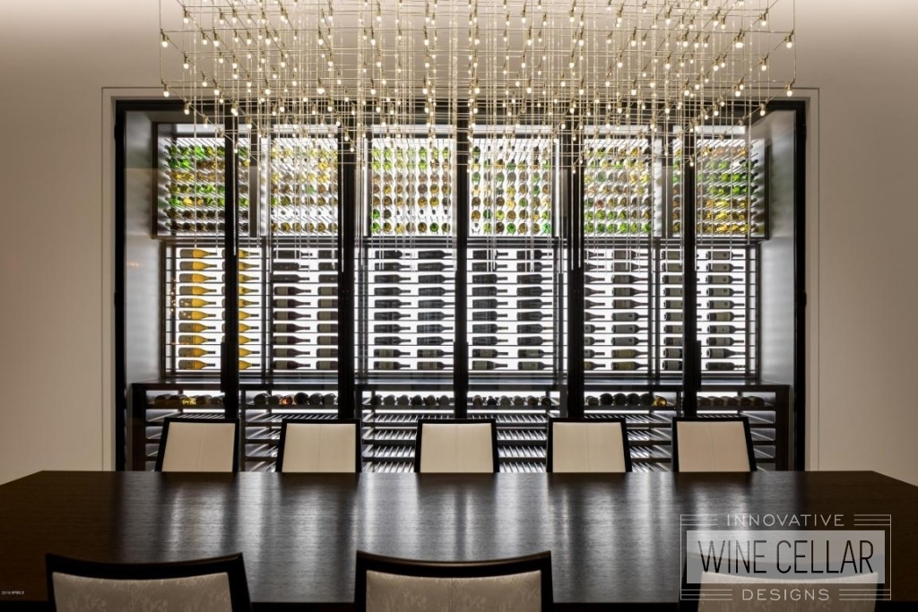 contemporary glass wine cellar
