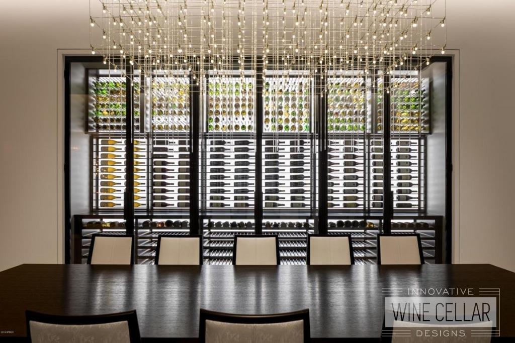 contemporary glass wine cellar