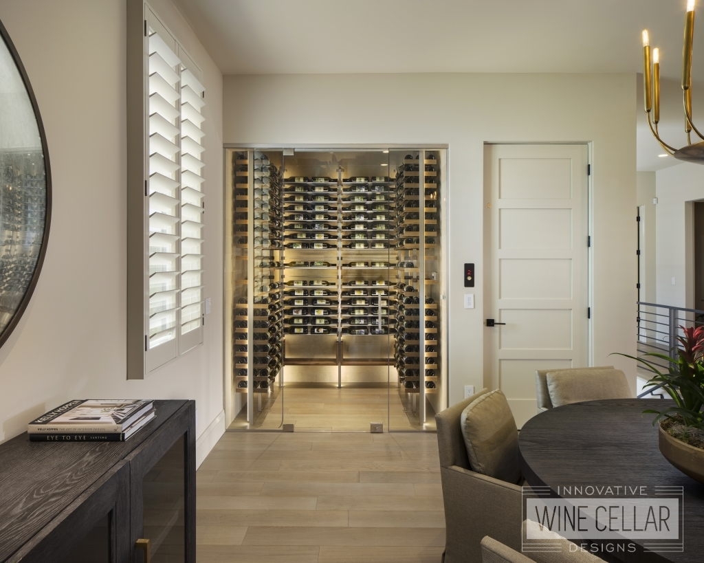 contemporary wine closet with accent lighting and glass doors