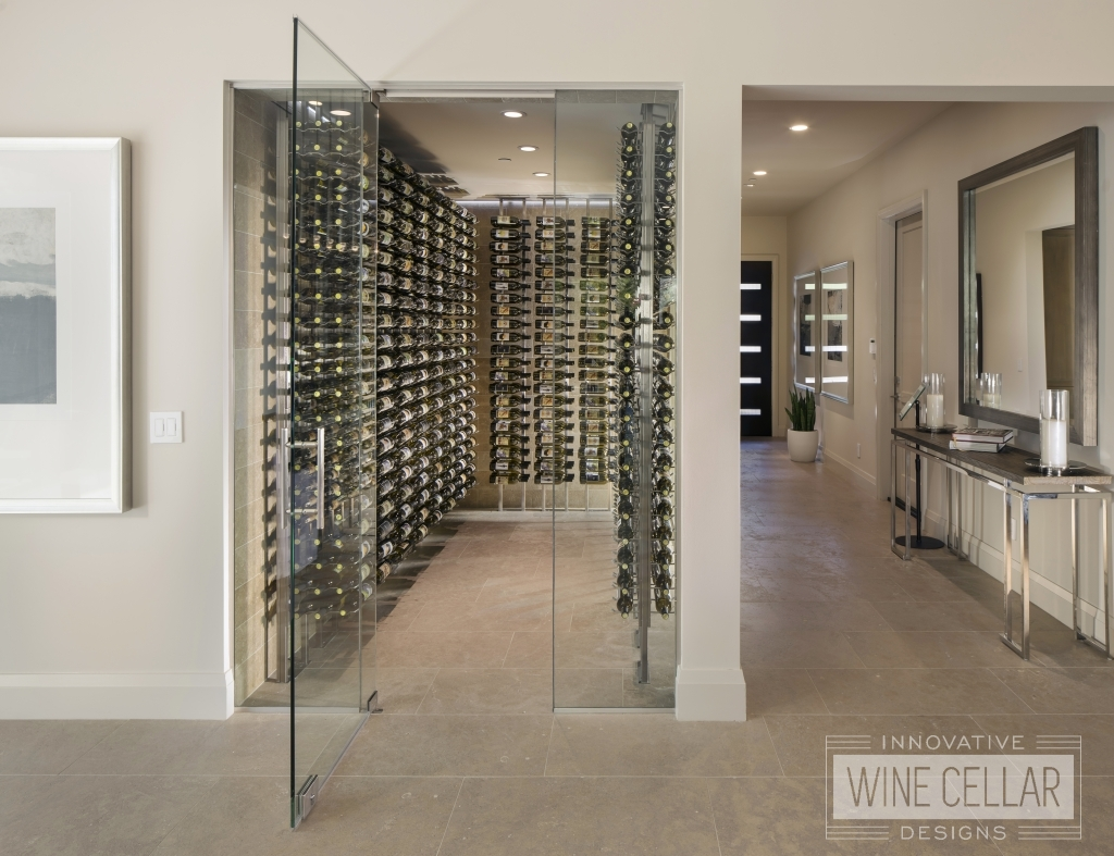 walk in glass wine cellar