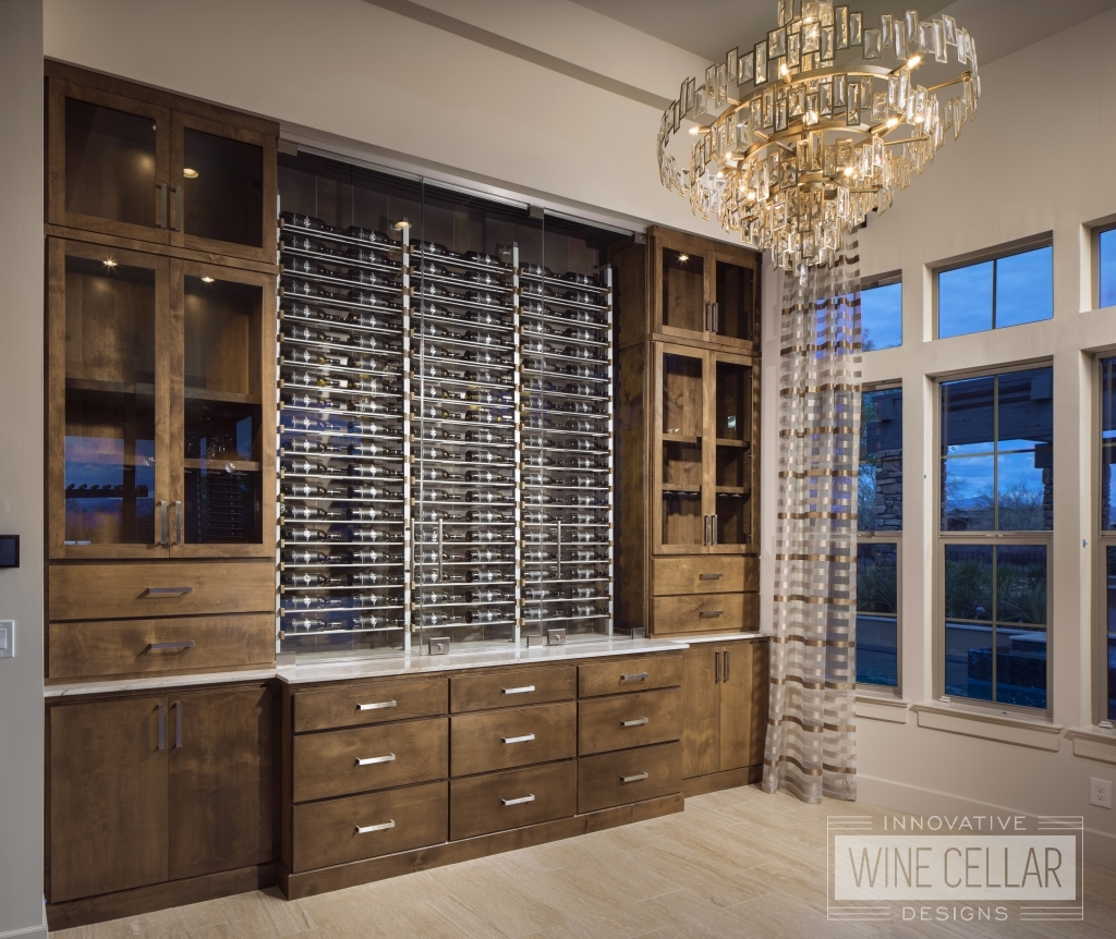 wine wall cabinets at Verde River model home before