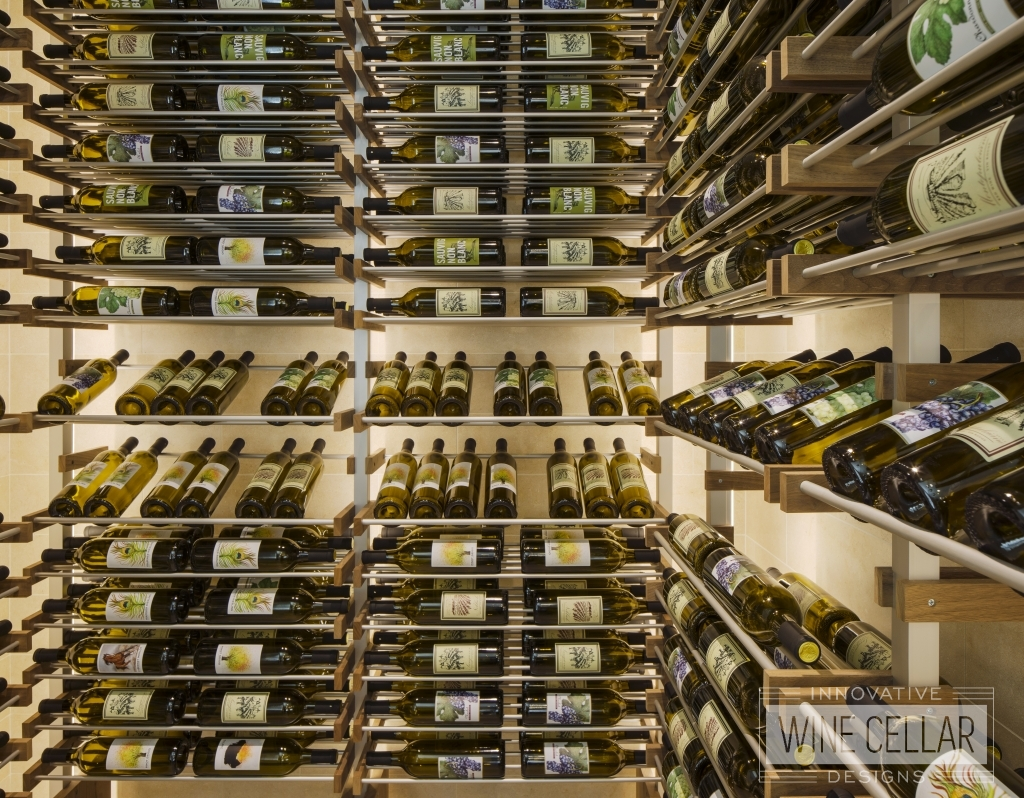 wood and metal wine racking in wine cellar