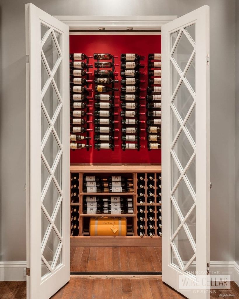 Wine closet with opened french doors