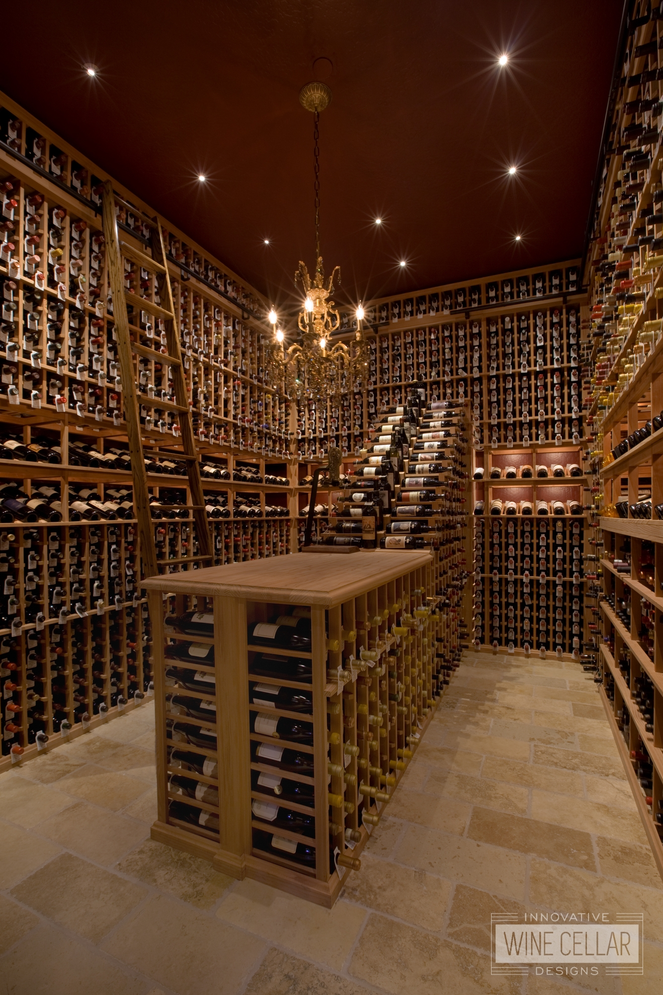Custom Floor to Ceiling Wood Wine Racks by Innovative Wine Cellar Designs