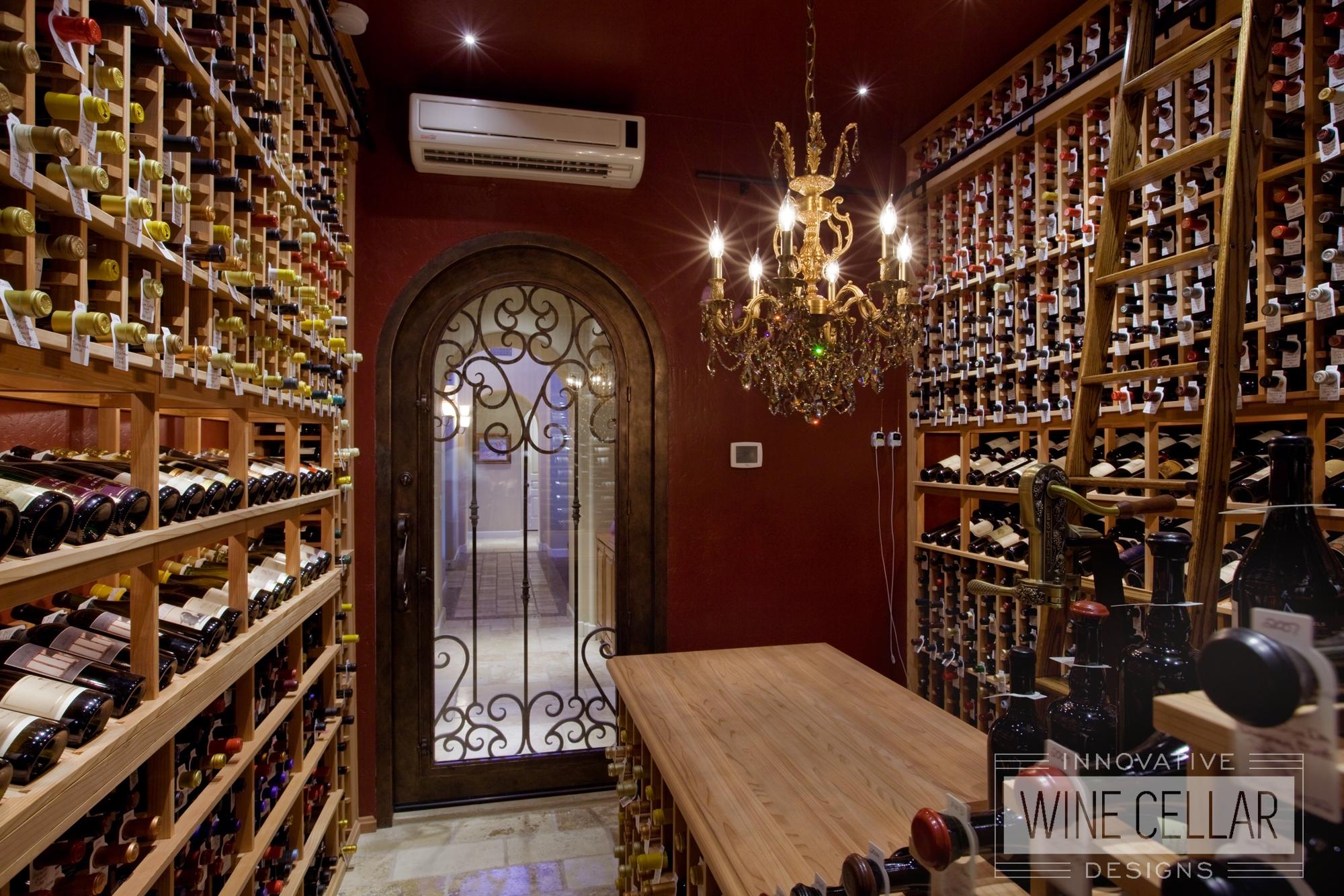 Floor to Ceiling Custom Wood Wine Racks in Temperature Controlled Wine Cellar