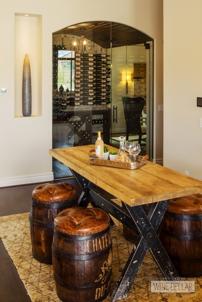 wine barrel stools and rustic tasting table