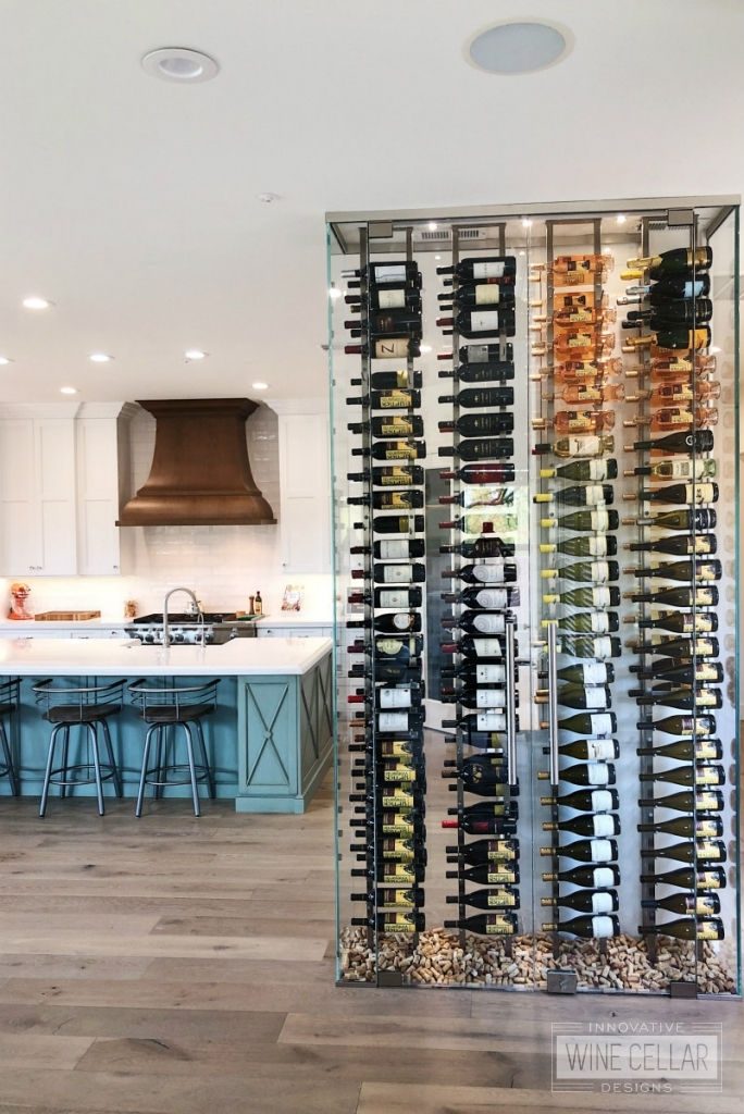 Glass wine wall in kitchen