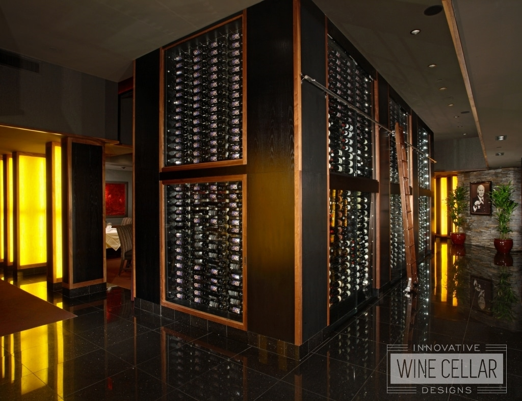 Floor to ceiling wine wall at Mastro's
