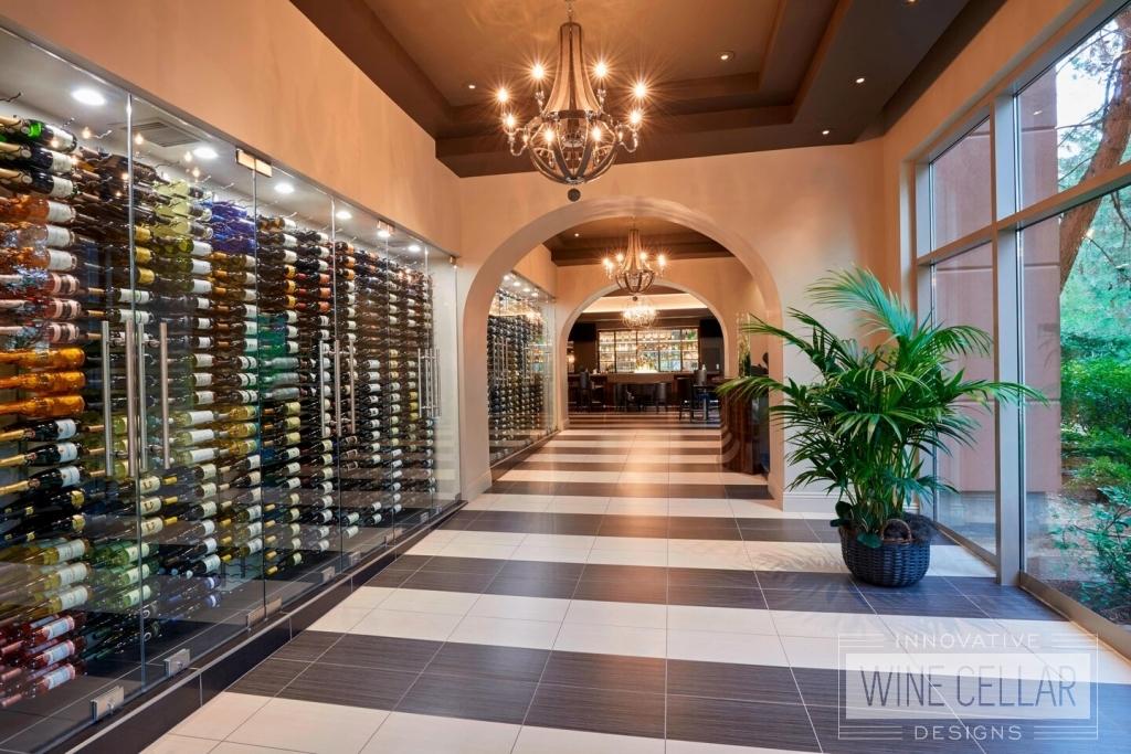 Hallway wine walls at JW Marriott Las Vegas Hawthorn Grill