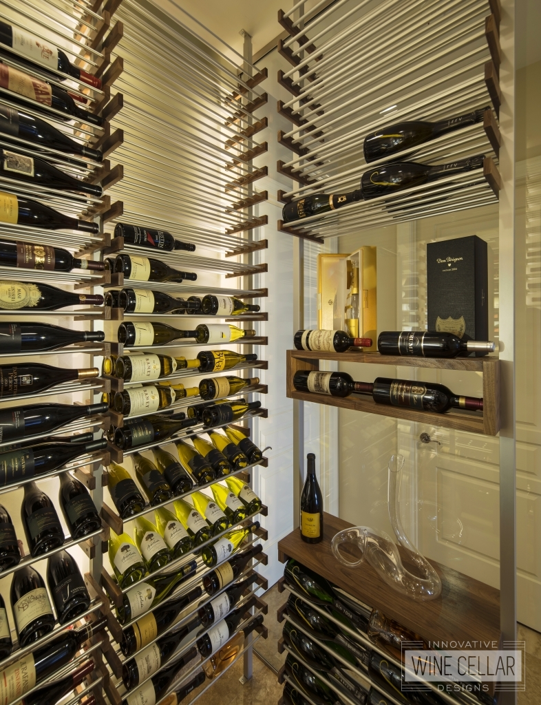 Simplistic wine cellar with metal and wood wine racks