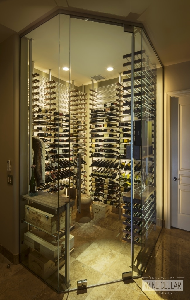 Minimalist wine cellar storage